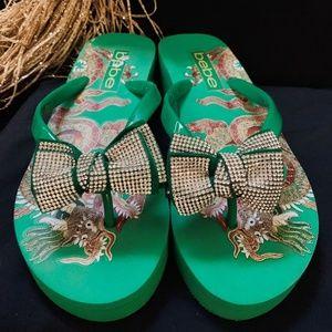 BEBE Platform Bling Flip Sandals size 7.5